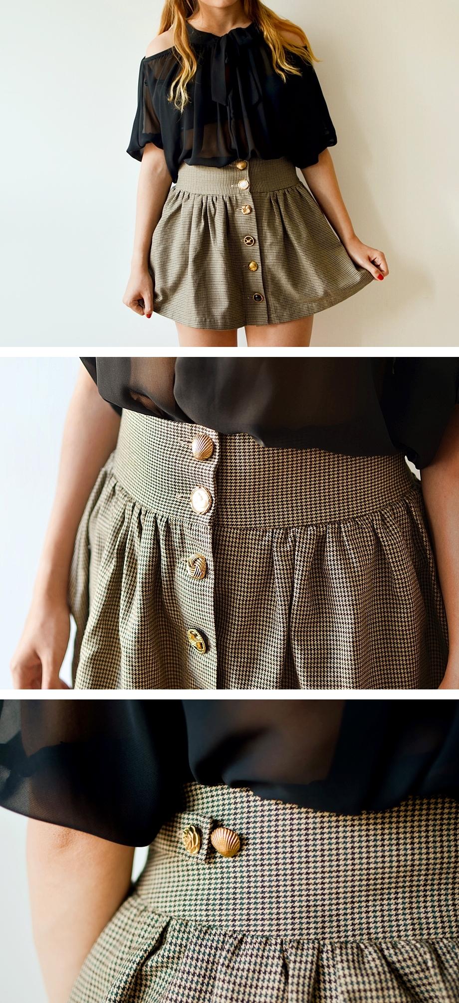 Spodniczka pepitka vintage